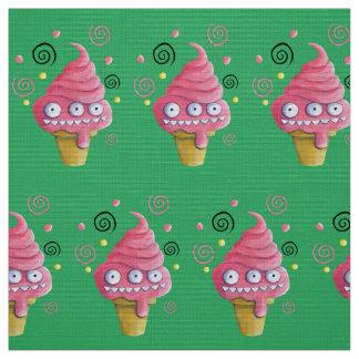 ピンクモンスターのアイスクリームコーン ファブリック