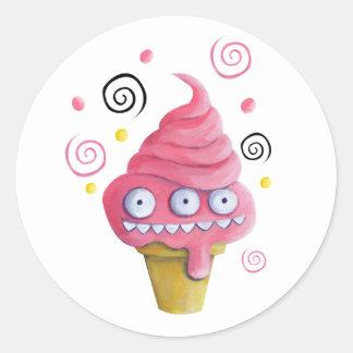 ピンクモンスターのアイスクリームコーン ラウンドシール