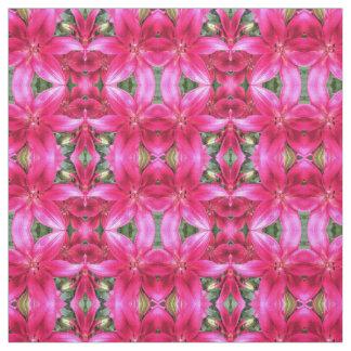 ピンクユリのモザイク ファブリック