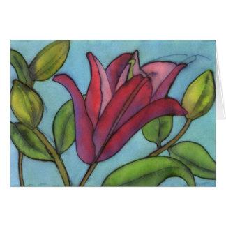 ピンクユリの挨拶状 カード