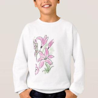 ピンクユリの花の開花-手描きのスケッチ スウェットシャツ