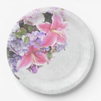 ピンクユリの花束 ペーパープレート