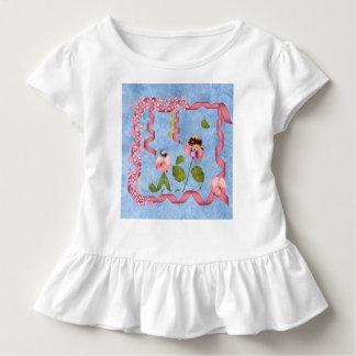 ピンクユーモアのあるなスイートピー及び藤色の花人々 トドラーTシャツ