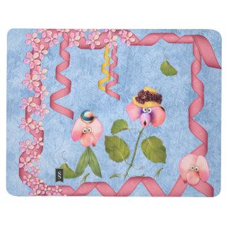 ピンクユーモアのあるなスイートピー及び藤色の花人々 ポケットジャーナル