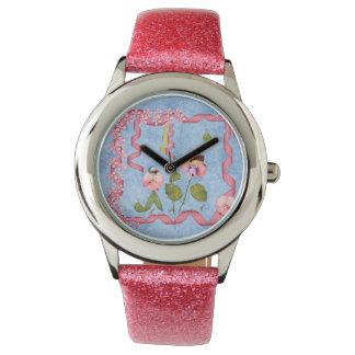 ピンクユーモアのあるなスイートピー及び藤色の花人々 腕時計