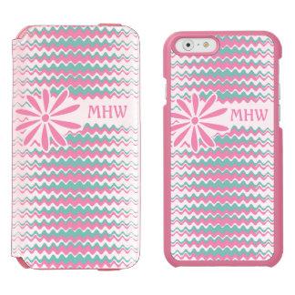 ピンク及びティール(緑がかった色)の波状のストライプでカスタムなモノグラムのケース iPhone 6/6Sウォレットケース