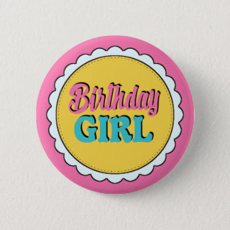ピンク及びティール(緑がかった色)の誕生日の女の子 5.7CM 丸型バッジ