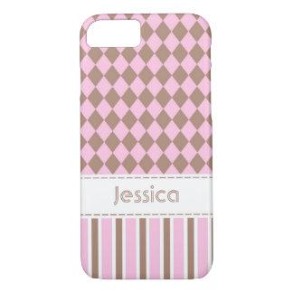 ピンク及びブラウンのダイヤモンド及びストライプなカスタム iPhone 8/7ケース