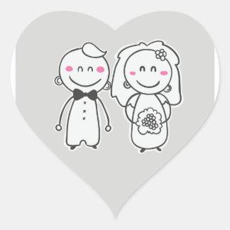 ピンク及び灰色の漫画の新郎新婦のステッカー/シール ハートシール