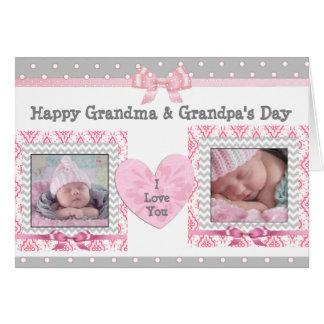"""ピンク及び灰色の祖父母の日""""私は""""カード愛します グリーティングカード"""