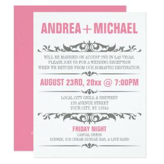 ピンク及び灰色の結婚披露宴の招待状だけ カード