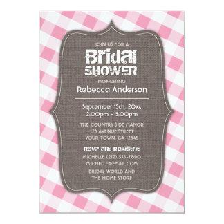ピンク及び白いギンガムのキャンバスのブライダルシャワー カード
