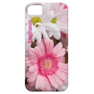ピンク及び白いデイジーのカスタムなiPhone 5の場合 iPhone SE/5/5s ケース