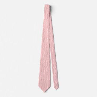 ピンク及び白いヘリンボンモダンなパターン オリジナルネクタイ