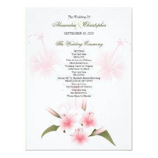 ピンク及び白いユリの結婚式プログラム カード