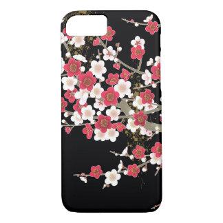 ピンク及び白い桜のヴィンテージの日本人の花 iPhone 8/7ケース
