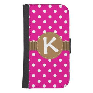 ピンク及び白い水玉模様、ブラウンのリボンの財布のスタイル 手帳型 GALAXY S4ケース