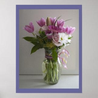 ピンク及び白い花の静物画ポスター ポスター