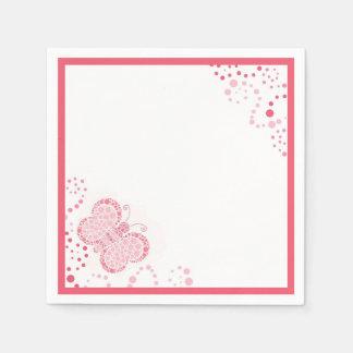 ピンク及び白い蝶点描のカスタム スタンダードカクテルナプキン