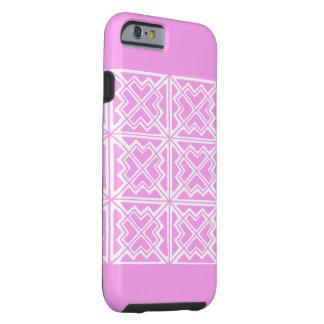 ピンク及び白く幾何学的な芸術のデザインIの電話6箱 ケース