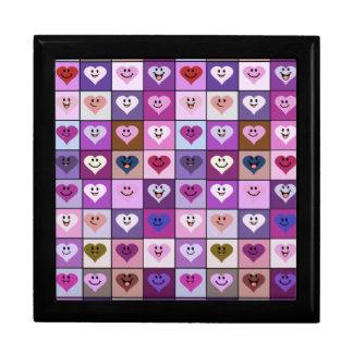ピンク及び紫色のにこやかなハートの正方形 ギフトボックス