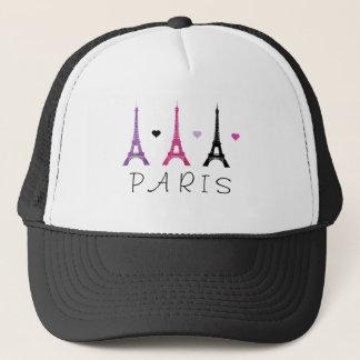 ピンク及び紫色のエッフェル塔パターン キャップ