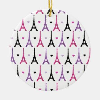 ピンク及び紫色のエッフェル塔パターン セラミックオーナメント