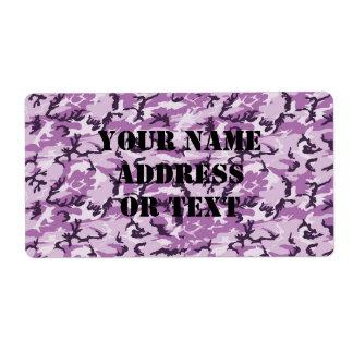 ピンク及び紫色のカムフラージュの背景 ラベル