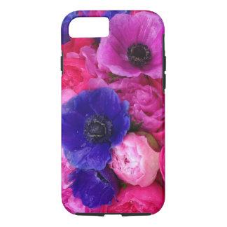 ピンク及び紫色のシャクヤク及びバラの花の電話箱 iPhone 8/7ケース