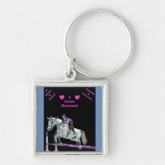ピンク及び紫色の馬のジャンパー キーホルダー