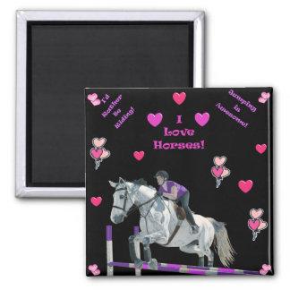 ピンク及び紫色の馬のジャンパー マグネット