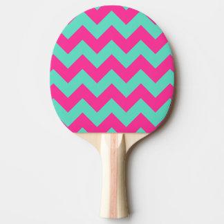 ピンク及び緑のシェブロンの卓球ラケット 卓球ラケット