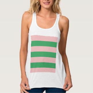 ピンク及び緑のストライプ|はあらゆる色または|の習慣を大きさで分類します タンクトップ