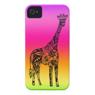 ピンク及び緑のネオンキリン Case-Mate iPhone 4 ケース