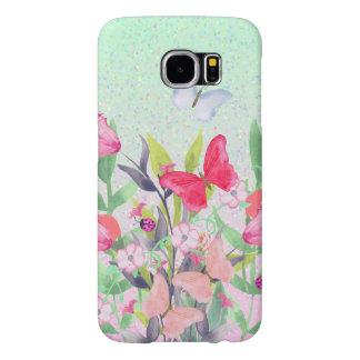 ピンク及び赤い水彩画の花及び蝶 SAMSUNG GALAXY S6 ケース