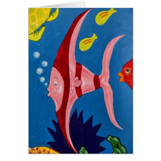 ピンク及び赤い熱帯魚 カード