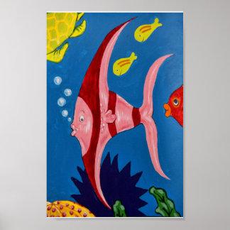 ピンク及び赤い熱帯魚 プリント