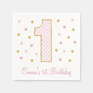 ピンク及び金ゴールドのグリッターの最初誕生日 スタンダードカクテルナプキン