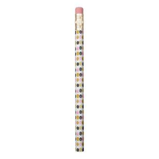 ピンク及び金ゴールドの水玉模様の水彩画の鉛筆 鉛筆