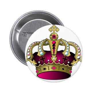 ピンク及び金ゴールドの王冠 5.7CM 丸型バッジ