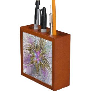 ピンク及び金ゴールドの花のカラフルの抽象芸術のフラクタル ペンスタンド