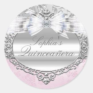 ピンク及び銀のばら色のキンセアニェラのステッカー ラウンドシール