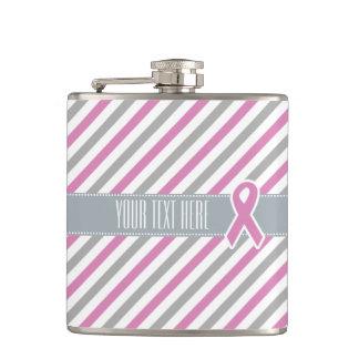 ピンク及び銀のストライプでカスタムなフラスコ フラスク
