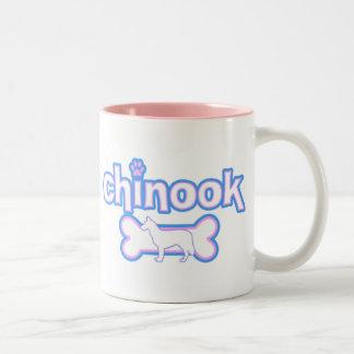 ピンク及び青いチヌック ツートーンマグカップ