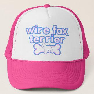 ピンク及び青いワイヤーフォックステリア犬 キャップ