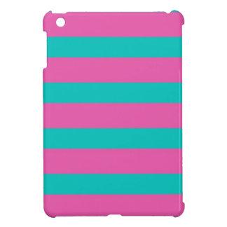 ピンク及び青い色のブロックのストライプなiPad Miniケース iPad Miniカバー