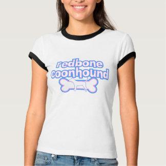 ピンク及び青いRedboneのCoonhoundの女性の信号器のティー Tシャツ