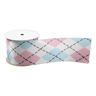 ピンク及び青くアーガイル柄のなリボン サテンリボン