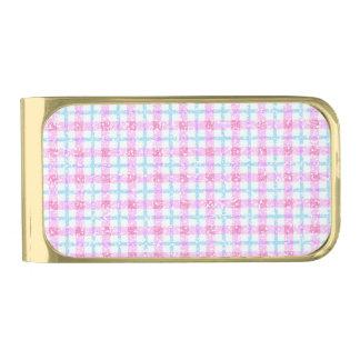 ピンク及び青のきらびやかなタータンチェック格子縞 ゴールド マネークリップ