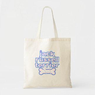 ピンク及び青ジャックラッセルテリアのバッグ トートバッグ